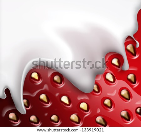 strawberries and cream close up as background - stock photo