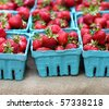 Strawberries at the Farmer's Market - stock photo
