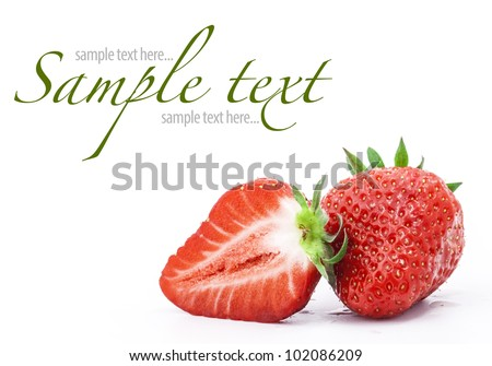 Strawberries berry isolated on white background (with sample text) - stock photo