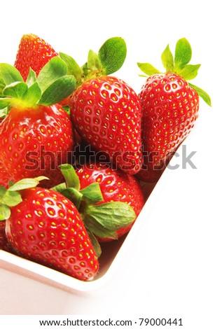 strawberries bowl - stock photo