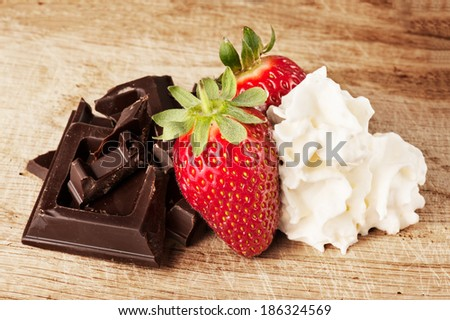 Cake Chocolate Cream Strawberry Stock Photos, Images, & Pictures ...