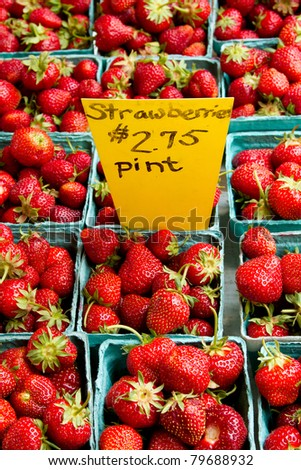 Strawberries for Sale at a Farmer's Market