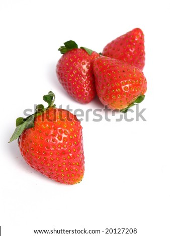 Strawberries  group on white background