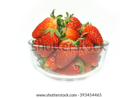 Strawberries in a Bowl, White background
