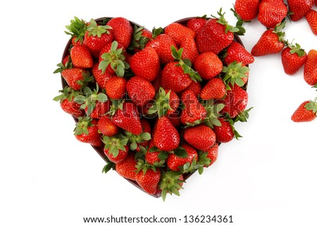 strawberries in a heart shape - stock photo