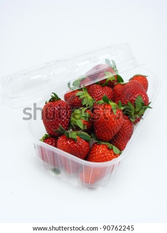 Strawberries in a plastic retail box