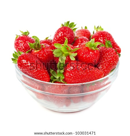 Strawberries in a plate, isolated on white background