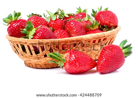 strawberries in a wicker basket isolated on white background - stock photo