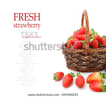 Strawberries in Basket isolated on White