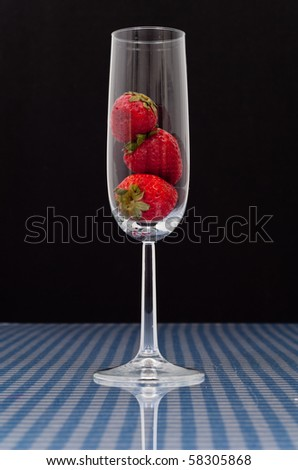 Strawberries in Champagne Flute Glass