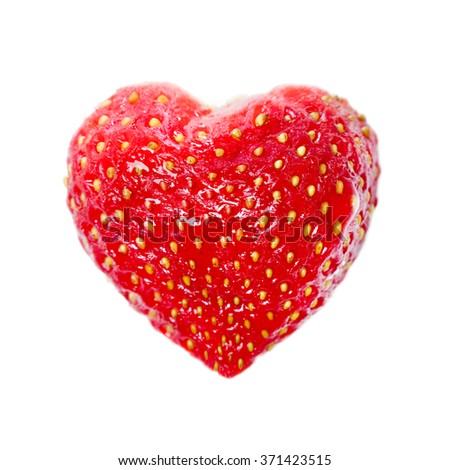 Strawberries in heart shape. Isolated.  - stock photo