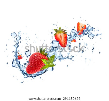 Strawberries in water splashes and ice cubes isolated on white background - stock photo