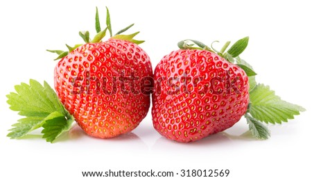 strawberries isolated on the white background
