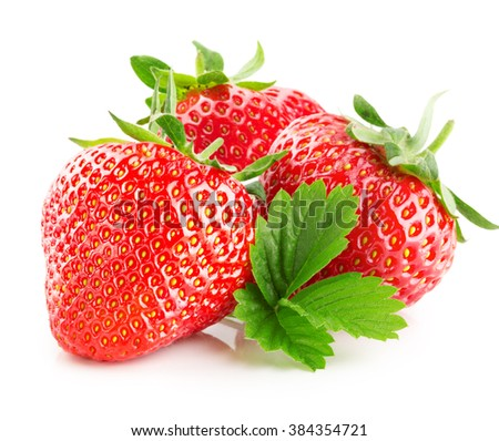 strawberries isolated on the white background - stock photo