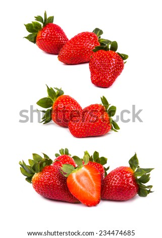 Strawberries isolated on white - stock photo