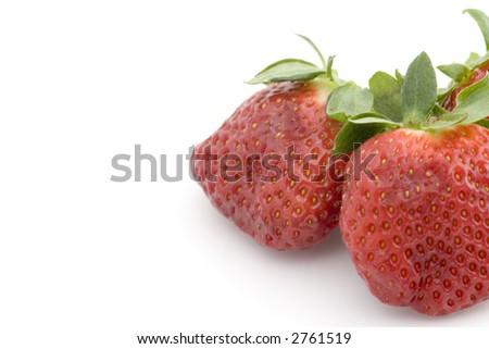 strawberries isolated on white background - stock photo