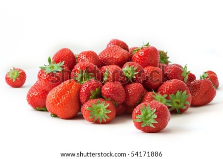 Strawberries isolated on white background - stock photo