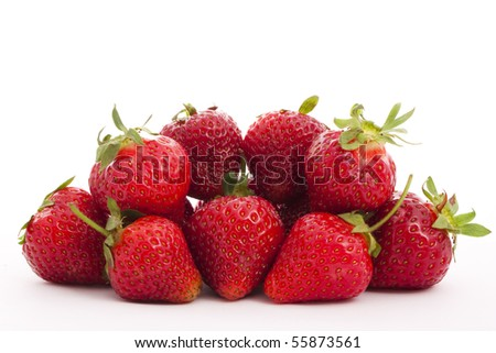 strawberries isolated on white close-up - stock photo