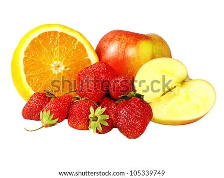 Strawberries,lemon and apple isolated on white background taken closeup. - stock photo