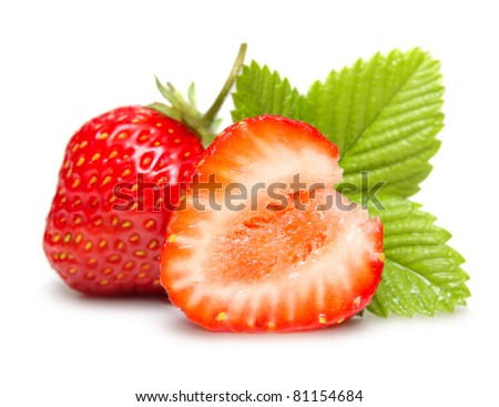 Strawberries macro with leaves isolated on white - stock photo