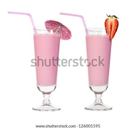 Strawberries milk shake and fresh fruit strawberry. Cocktail with milk. White isolated glass of milkshake. - stock photo