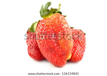 Strawberries on a white background close-up - stock photo
