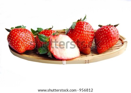 Strawberries on bamboo tray