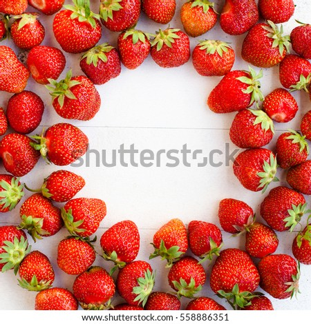 Strawberries on the table. Breakfast concept.