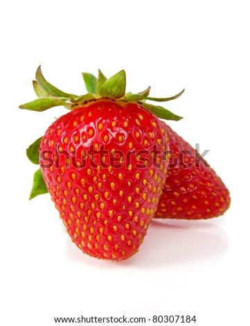 Strawberries on white - stock photo
