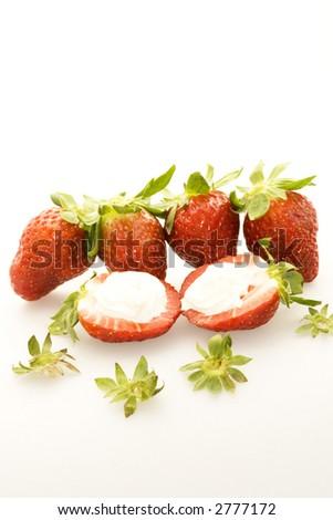 strawberries  on white background - stock photo