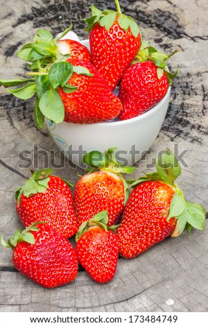 strawberries on wooden  - stock photo