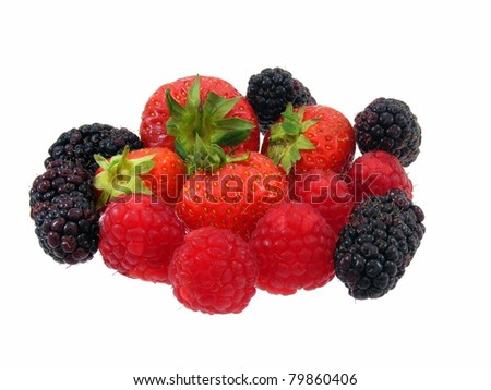Strawberries, Raspberries and Blackberries - stock photo