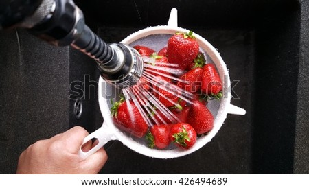 Strawberries rinsed with water