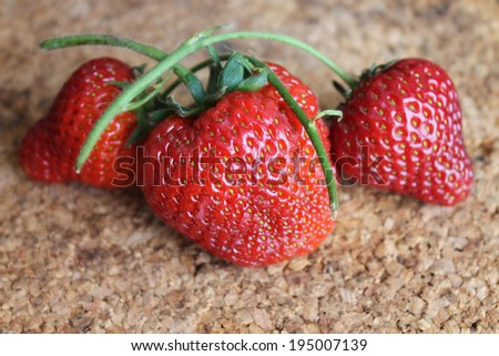 Strawberries. Strawberries on a bamboo board