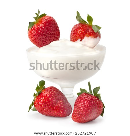 strawberries with cream isolated on white background