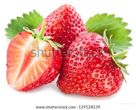 Strawberries with leaves. Isolated on a white background. - stock photo