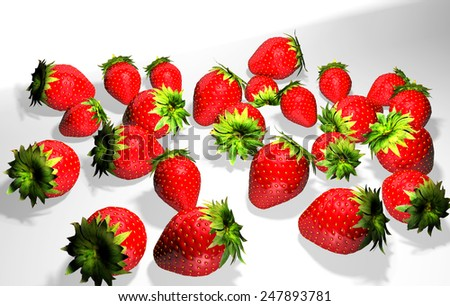 Strawberries with leaves. Isolated on a white background illustration - stock photo