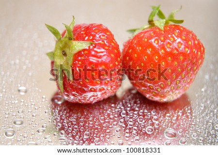 strawberries with water droplets