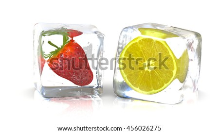 Strawberry and a lemon into fresh ice cubes. 3D Rendering - stock photo