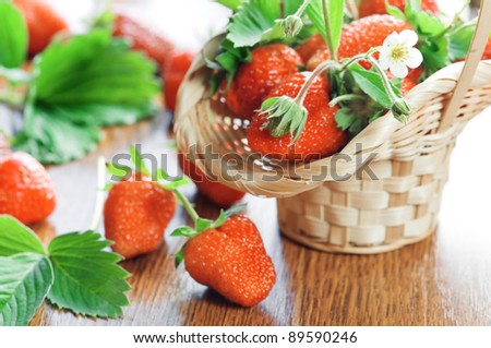 strawberry and basket close up - stock photo
