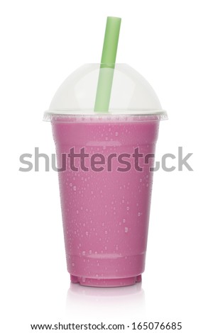 strawberry and berry milkshake isolated on a white background