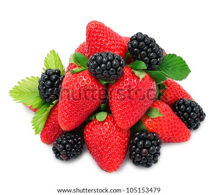 Strawberry and blackberry with leaves on the white background for your design - stock photo
