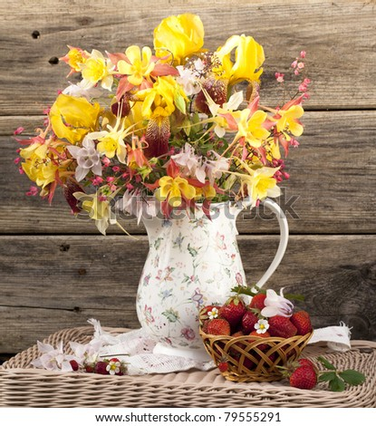 strawberry and bouquet flowers - stock photo