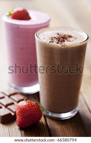 strawberry and chocolate milk shake - stock photo