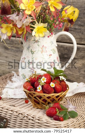 strawberry and flowers - stock photo