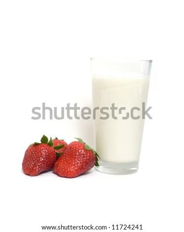 strawberry and glass of milk - stock photo