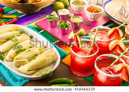 Strawberry and lime margaritas on the party table.
