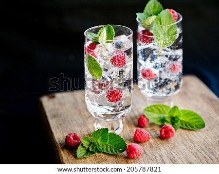 Strawberry and mint refreshing summer cocktails - stock photo