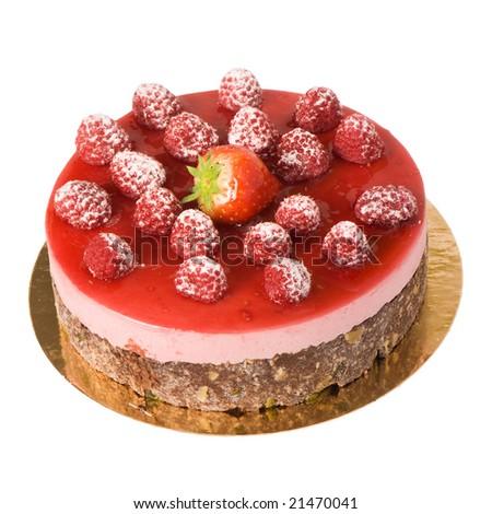 strawberry and raspberry cake. Isolated on white background. - stock photo