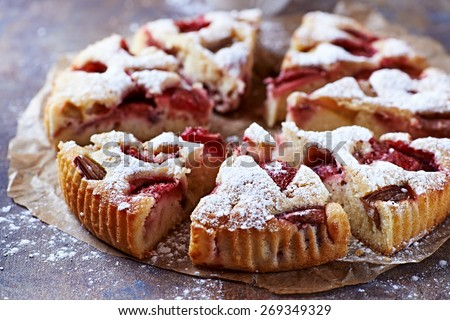 Strawberry and rhubarb cake - stock photo